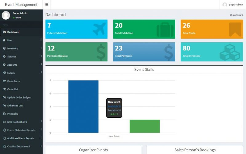 Event Management Cloud Software Admin Dashboard
